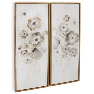 """Cold Frame (Set/2)"" Hand Painted Floral Wall Art on Canvas - 22"" x 2"" x 52"" ea"