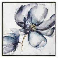 """""""Indigo Flower"""" Hand Painted Purple Flower on Canvas - 33"""" x 2"""" x 33"""""""