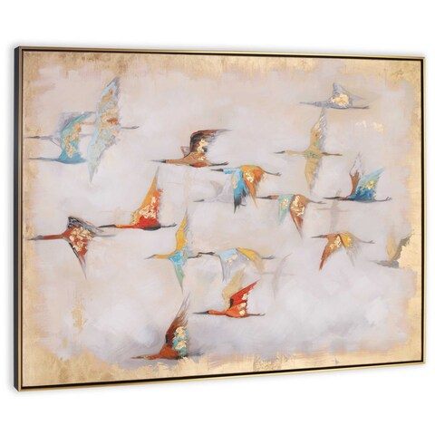 """""""Heading South"""" Hand Painted Birds on Canvas - 49"""" x 2"""" x 37"""""""