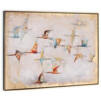 """Heading South"" Hand Painted Birds on Canvas - 49"" x 2"" x 37"""
