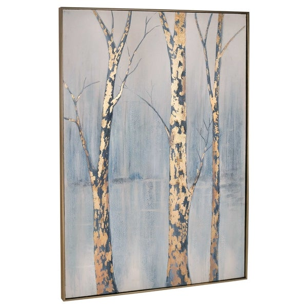 """Timber"" Hand Painted Abstract on Trees on Canvas - 40"" x 2"" x 62"""