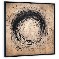 """""""Golden Splatter"""" Hand Painted Gold and Black Circle Abstract on Canvas - 48"""" x 2"""" x 48"""""""