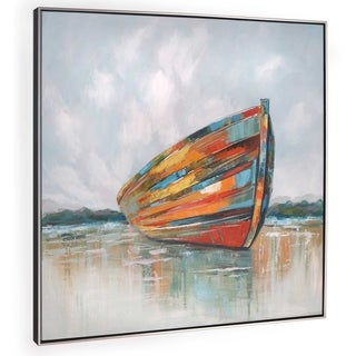 """Calm Seas""Colorful Hand Painted Boat on Canvas - 41"" x 2"" x 41"""