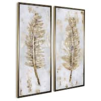 """""""Fringe (Set/2)"""" Hand Painted Gold Leaf Feathers on Canvas - 22"""" x 2"""" x 52"""""""
