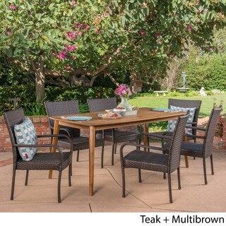 Haven Outdoor 7 Piece Multibrown PE Wicker Dining Set with Rectangular Table by Christopher Knight Home