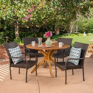 Avoca Outdoor 5 Piece Multibrown PE Wicker Dining Set with Circular Dining Table by Christopher Knight Home