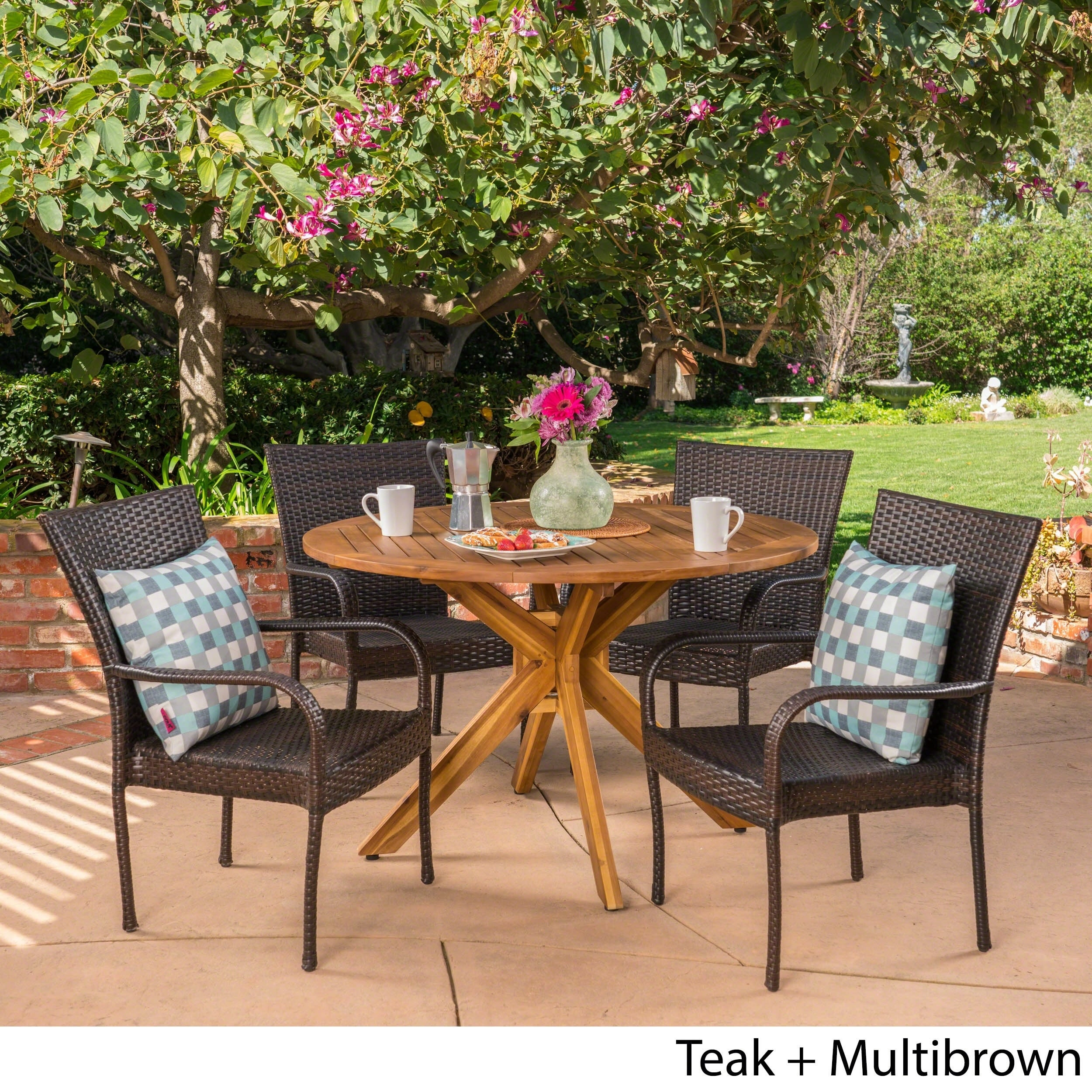 Avoca Outdoor 5 Piece Multibrown Pe Wicker Dining Set With Circular Dining Table By Christopher Knight Home Overstock 21135522
