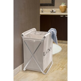Seville Classics Aluminum Double X-Frame Folding Laundry Clothes Hamper, Natural Beige