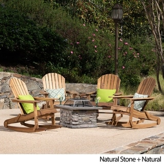 Marrion Outdoor 5 Piece Adirondack Rocking Chair Set With Fire Pit By  Christopher Knight Home