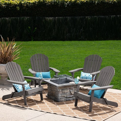 Marrion Outdoor 5 Piece Adirondack Chair Set with Fire Pit by Christopher Knight Home