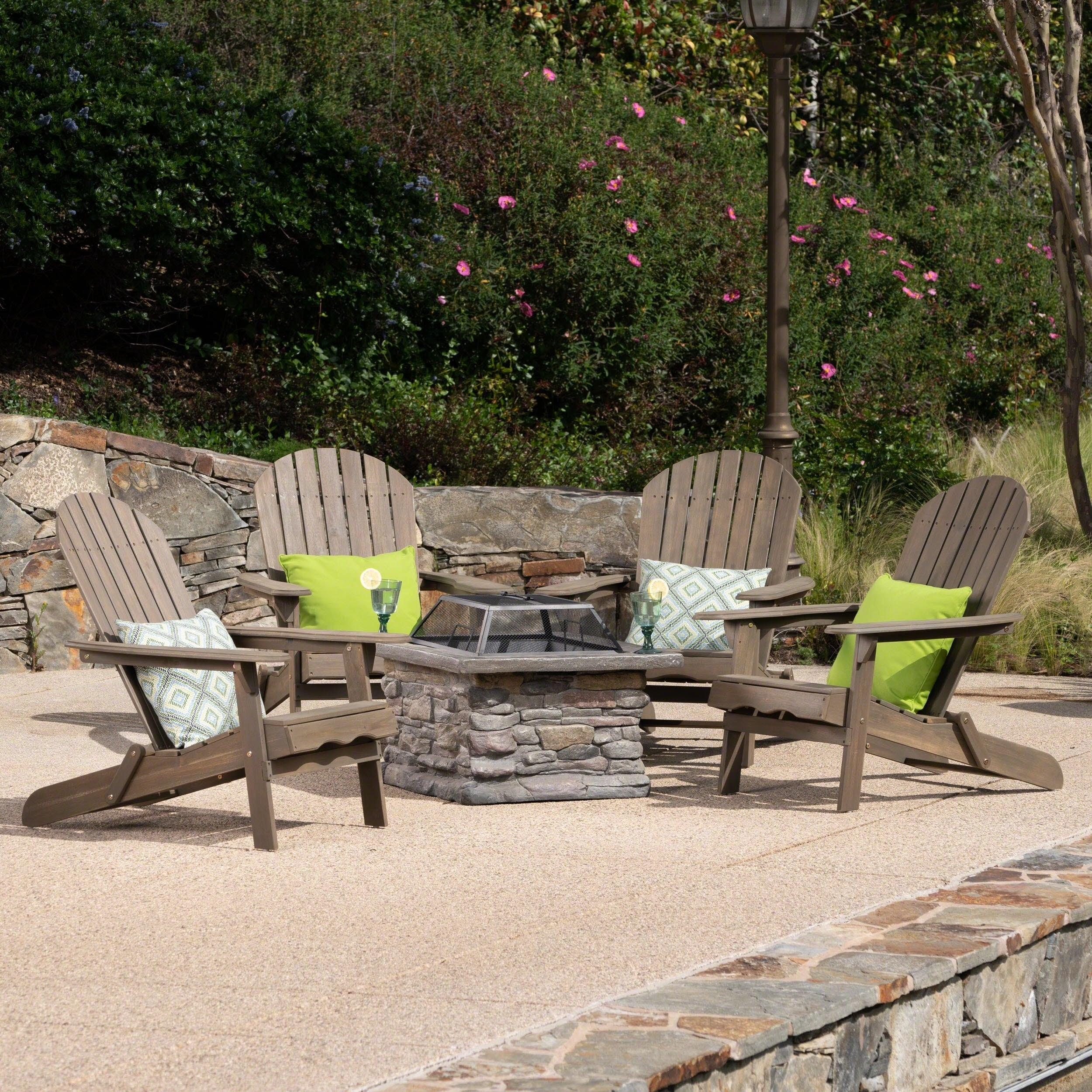 Awesome Marrion Outdoor 5 Piece Adirondack Chair Set With Fire Pit By Christopher Knight Home Machost Co Dining Chair Design Ideas Machostcouk