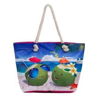 Large Beach Tote Bag, Water Resistant Shoulder Bag with Zipper