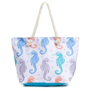 Water Resistant Canvas Beach Tote Bag, Large Beach Tote Bag with Zipper