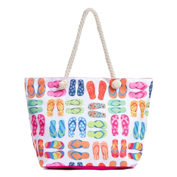 Large Beach Tote Bag With Zipper Water Resistant Canvas
