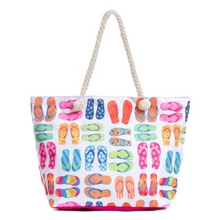 Large Beach Tote Bag with Zipper, Water Resistant Canvas Beach Bag