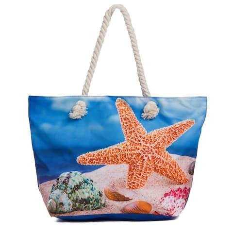 Large Beach Tote Bag Water Resistant Canvas Bag with Zipper
