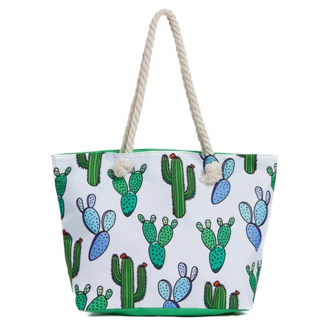Water Resistant Canvas Beach Bag with Zipper, Large Beach Tote Bag