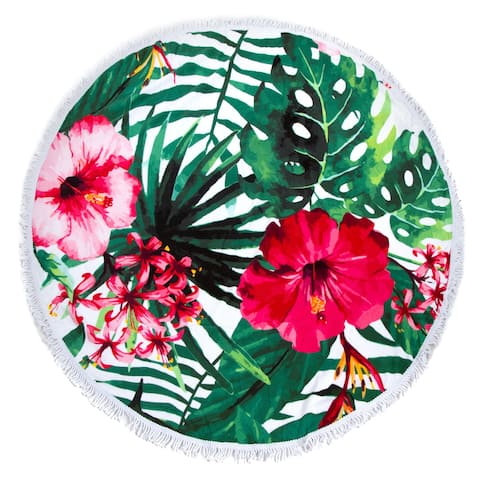 Round Beach Towel, Circle Beach Towel with Fringe Hibiscus