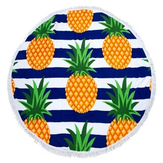 Round Beach Towel, Circle Beach Towel with Fringe Pineapple Stripe