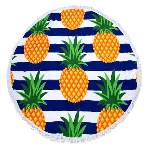 Round Beach Towel, Circle Beach Towel with Fringe Pineapple Stripe