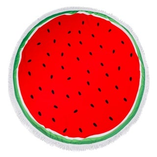 Round Beach Towel, Circle Beach Towel with Fringe Watermelon