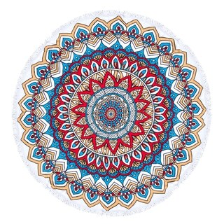 Link to Mandala Round Beach Towel, Circle Beach Towel with Fringe Red Blue Similar Items in Towels