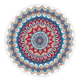 Mandala Round Beach Towel, Circle Beach Towel with Fringe Red Blue