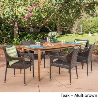Clint Outdoor 7 Piece Multibrown PE Wicker Dining Set with Dining Table by Christopher Knight Home