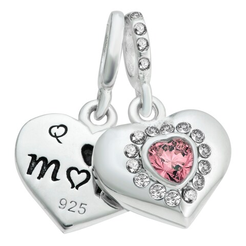 Sterling Silver Mom & Daughter Love CZ Crystal Dangle European Bead Charm
