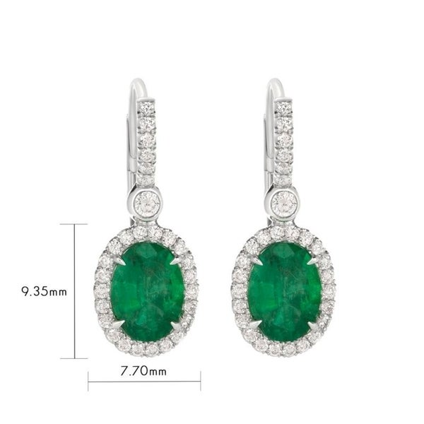 18k White Gold Natural Zambian Oval Emerald Earrings 1 67 Carat Total Weight