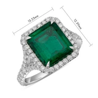 Natural Zambian Emerald Cut Emerald Halo Ring 5.38 Carat Total Weight