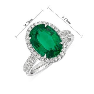 Natural Zambian Oval Emerald Halo Ring 3.72 Carat Total Weight