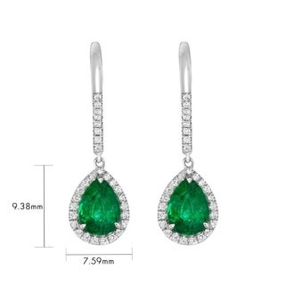 Diamond Natural Zambian Pear Shape Emerald Earrings 1.63 Carat Total Weight
