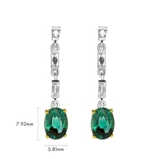 Natural Zambian Oval Emerald Dangling Earrings 2.40 Carat Total Weight