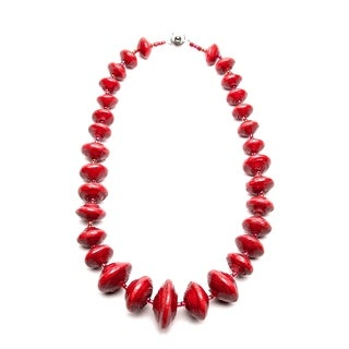 Handmade Recycled Paper Bead Jarara Necklace Red (Uganda)