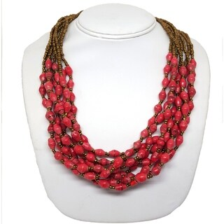 Handmade Recycled Paper Bead Mukisa Necklace Red Gold (Uganda)