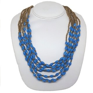 Handmade Recycled Paper Bead Mukisa Necklace Turquoise Gold (Uganda)