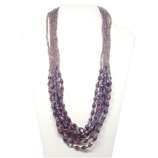 Handmade Recycled Paper Bead Mukisa Necklace Purple (Uganda)