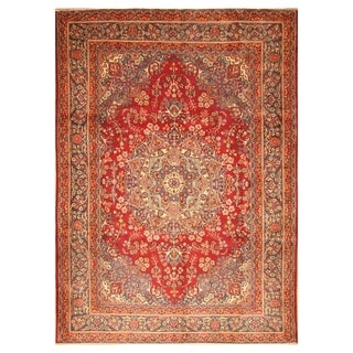 Handmade Herat Oriental Persian Hand-knotted Mashad Wool Rug - 8' x 11' (Iran)
