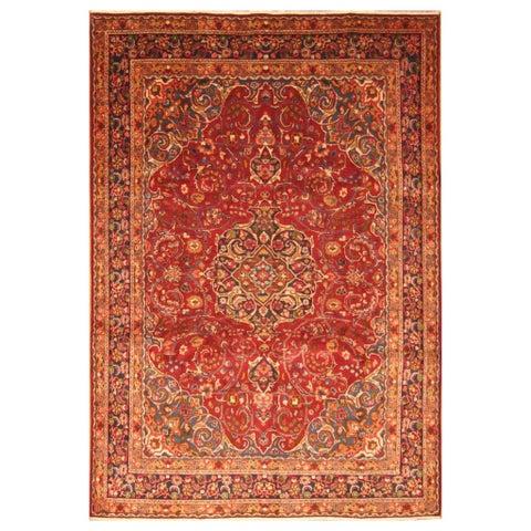 Handmade Herat Oriental Persian Hand-knotted Mashad Wool Rug - 7'9 x 11' (Iran)
