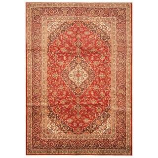 Handmade Herat Oriental Persian Hand-knotted Kashan Wool Rug (7'10 x 11'5)