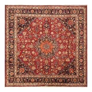 Handmade Herat Oriental Persian Hand-knotted Mashad Wool Rug (9'10 x 9'5)