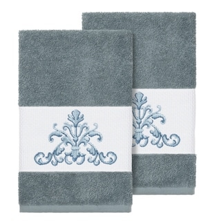Link to Authentic Hotel and Spa Teal Blue Turkish Cotton Scrollwork Embroidered Hand Towels (Set of 2) Similar Items in Towels