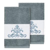 Authentic Hotel and Spa Teal Blue Turkish Cotton Scrollwork Embroidered Hand Towels (Set of 2)