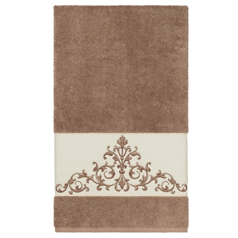 Authentic Hotel and Spa Latte Brown Turkish Cotton Scrollwork Embroidered Bath Towel
