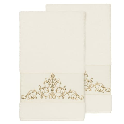 Authentic Hotel and Spa Cream Turkish Cotton Scrollwork Embroidered Bath Towels (Set of 2)