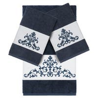 Authentic Hotel and Spa Midnight Blue Turkish Cotton Scrollwork Embroidered 3 piece Towel Set