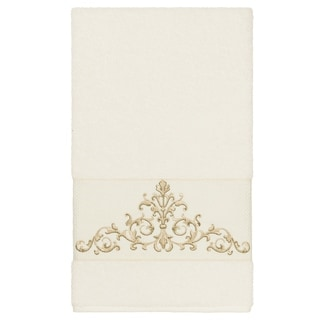 Link to Authentic Hotel and Spa Cream Turkish Cotton Scrollwork Embroidered Bath Towel Similar Items in Towels