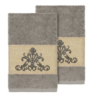 Authentic Hotel and Spa Grey Turkish Cotton Scrollwork Embroidered Hand Towels (Set of 2)