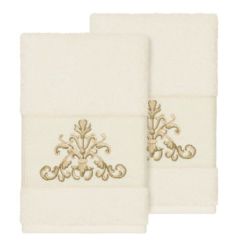 Authentic Hotel and Spa Cream Turkish Cotton Scrollwork Embroidered Hand Towels (Set of 2)